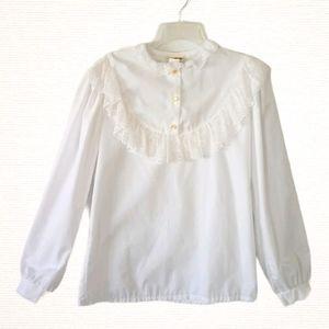 Vintage 70's Sears White Prairie Lace Trim Blouse